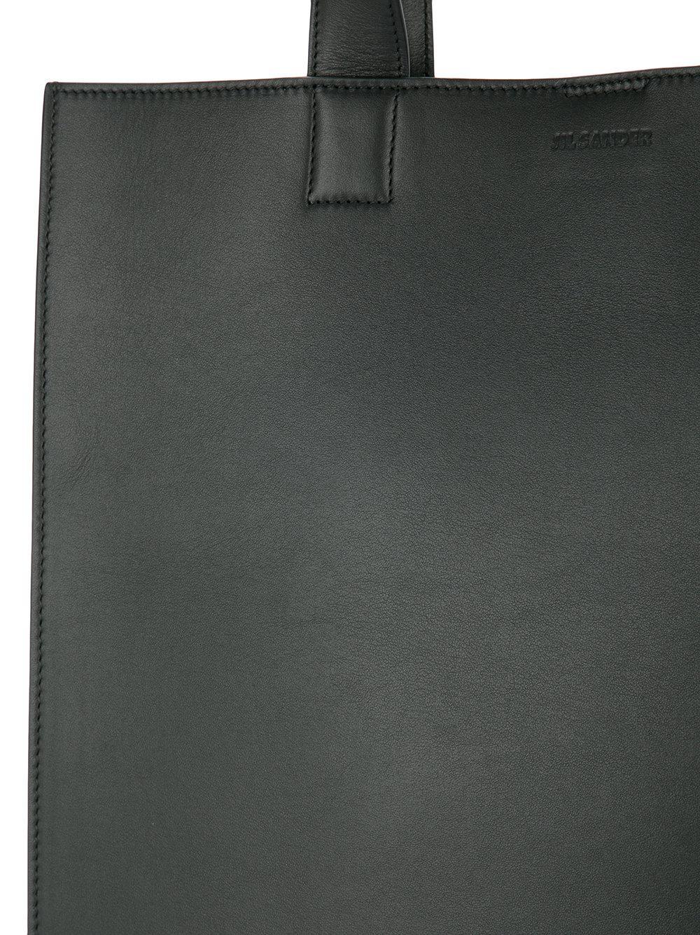 Jil Sander Leather Minimal Tote in Black