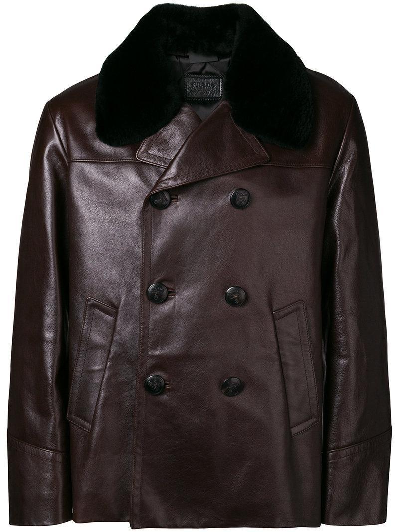 342df1a70c68 Prada Fur Collar Leather Jacket in Brown for Men - Lyst