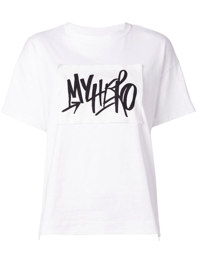 Lyst sacai graphic printed t shirt in white for Graphic t shirt printing company