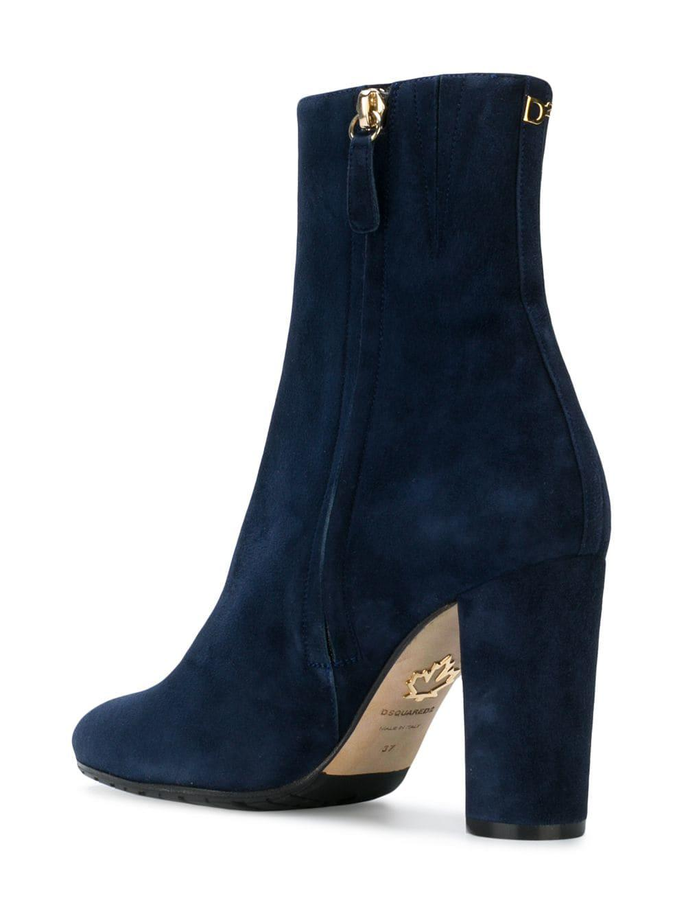 DSquared² Leather Almond Toe Ankle Boots in Blue