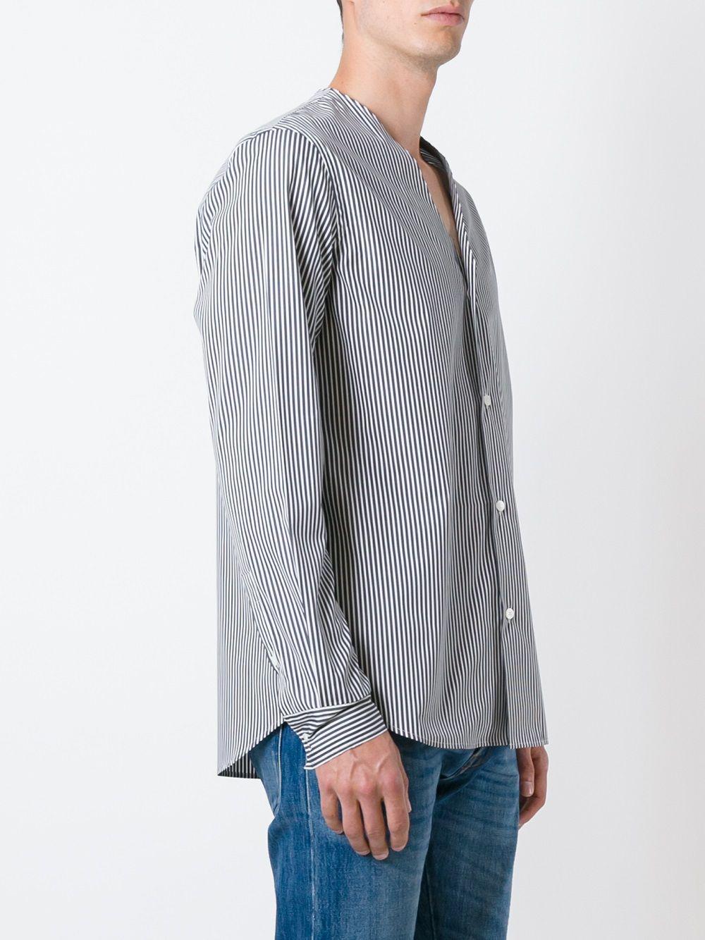 Marni Cotton Striped V-neck Shirt in Blue for Men