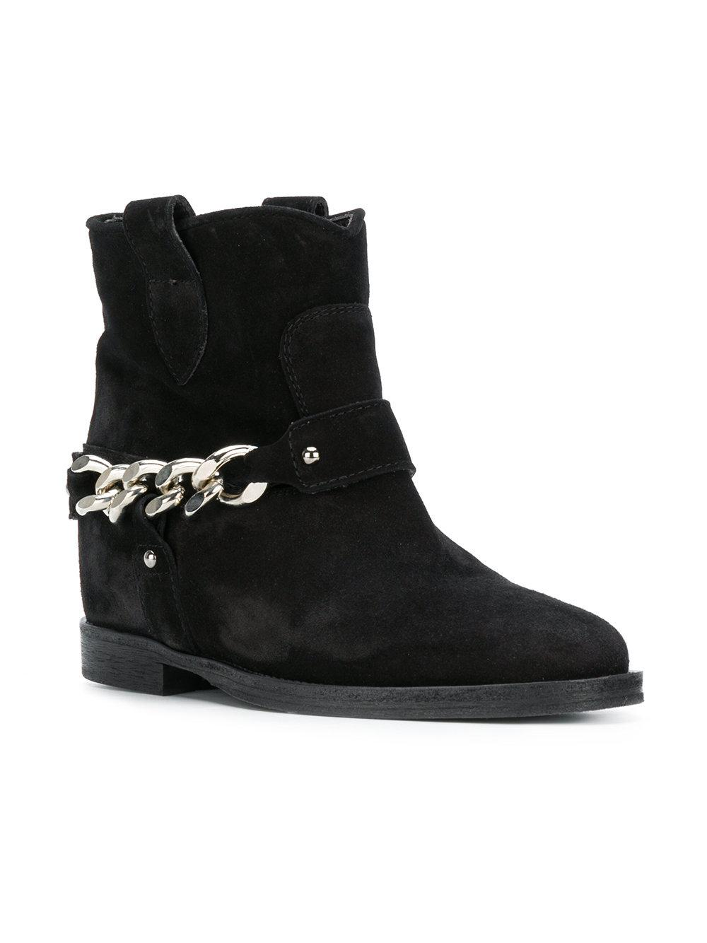 Via Roma 15 Leather Chain Embellished Ankle Boots in Black