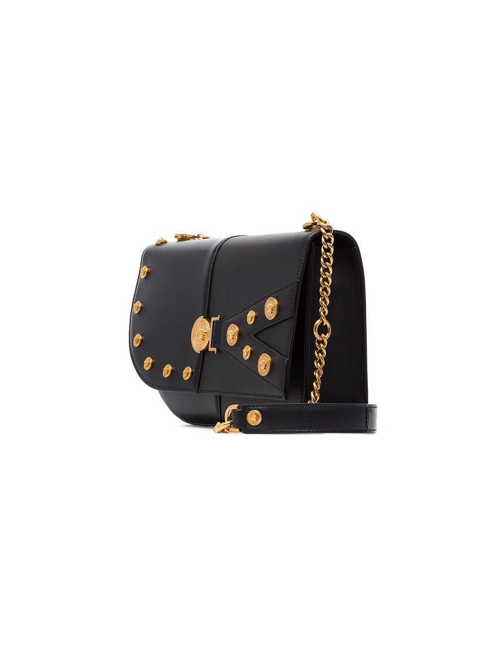Versace - Black Studded Leather Shoulder Bag - Lyst. View fullscreen 58576ea304577