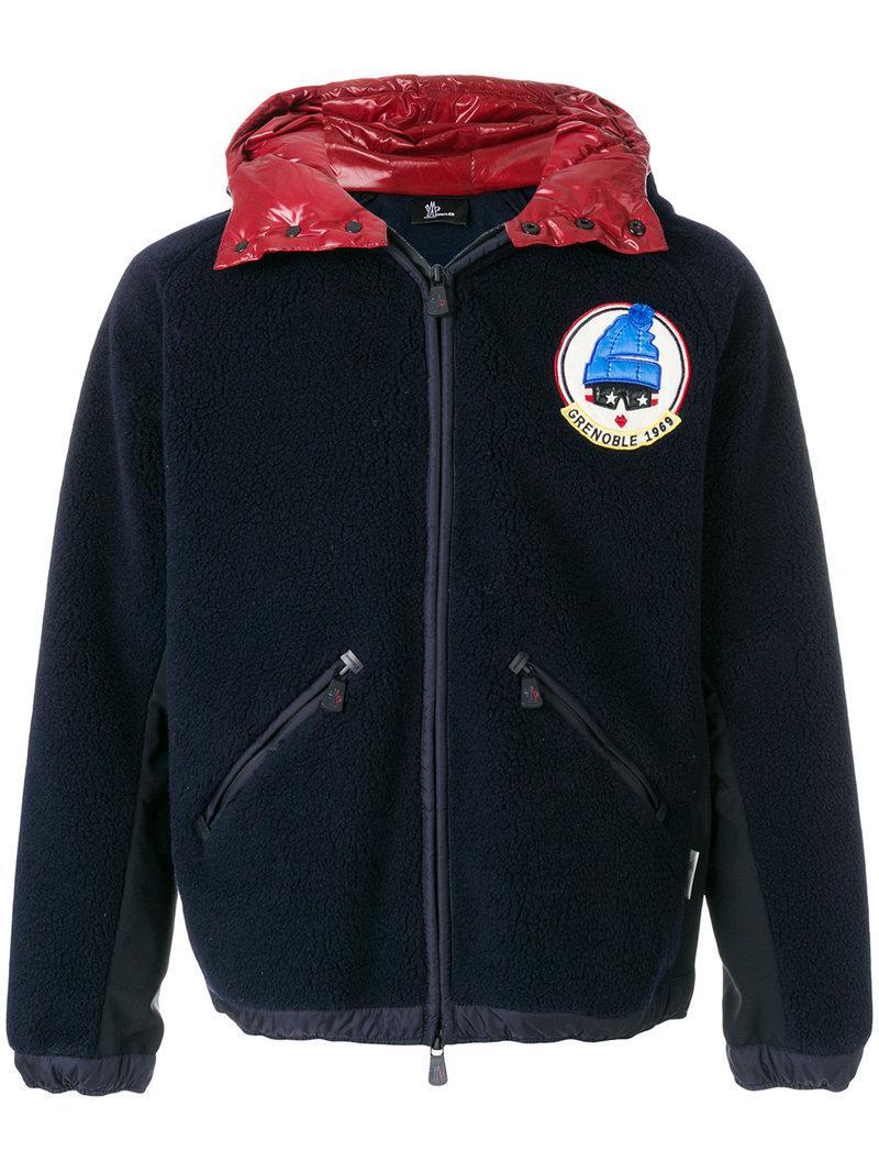 moncler grenoble hooded logo patch jacket in blue for men lyst. Black Bedroom Furniture Sets. Home Design Ideas