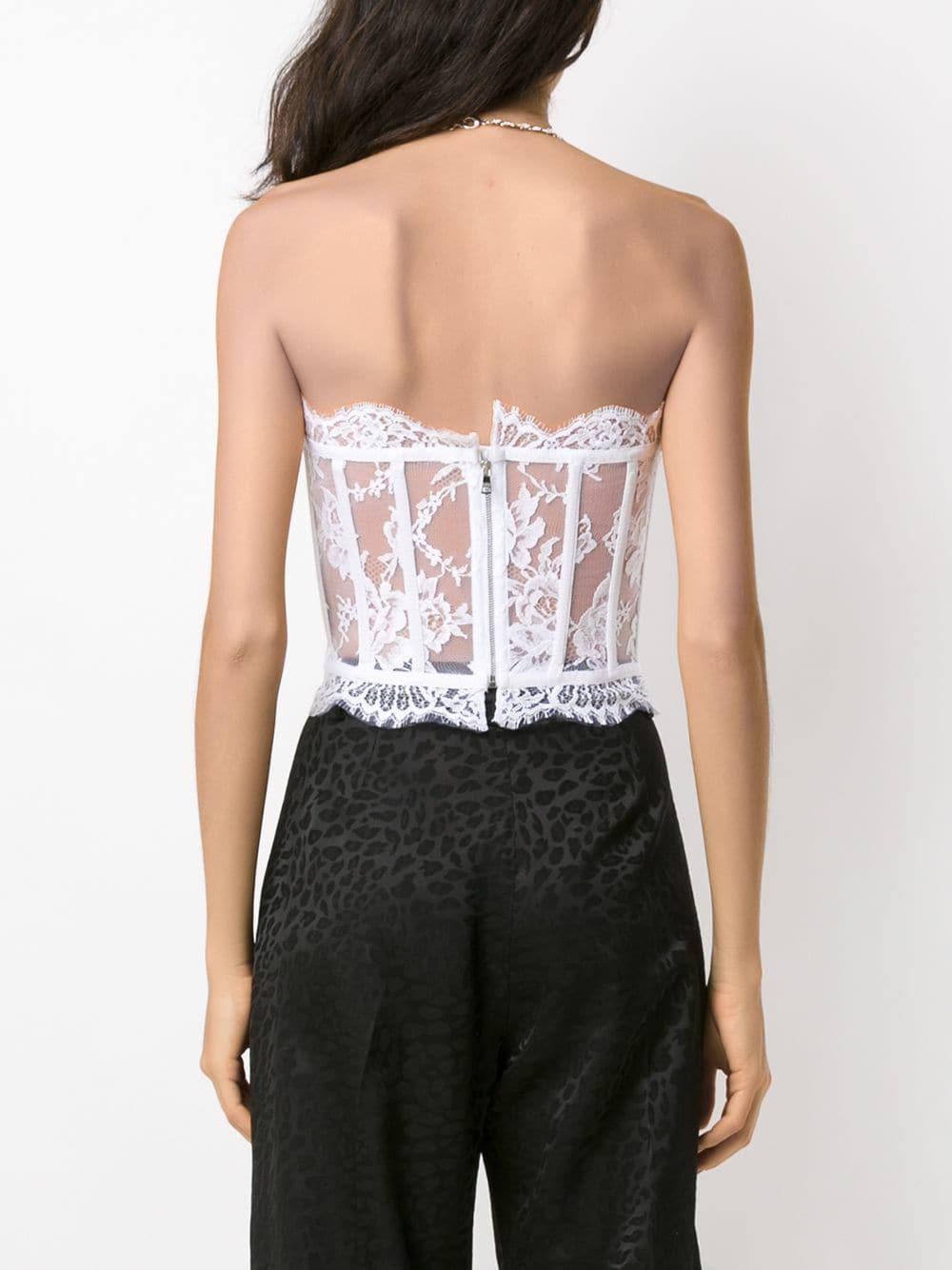 Top de encaje con diseño de palabra de honor Dolce & Gabbana de Algodón de color Blanco