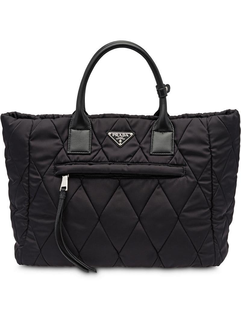 dd2028241a7c Lyst - Prada Quilted Nylon Tote Bag in Black - Save 8.914285714285711%