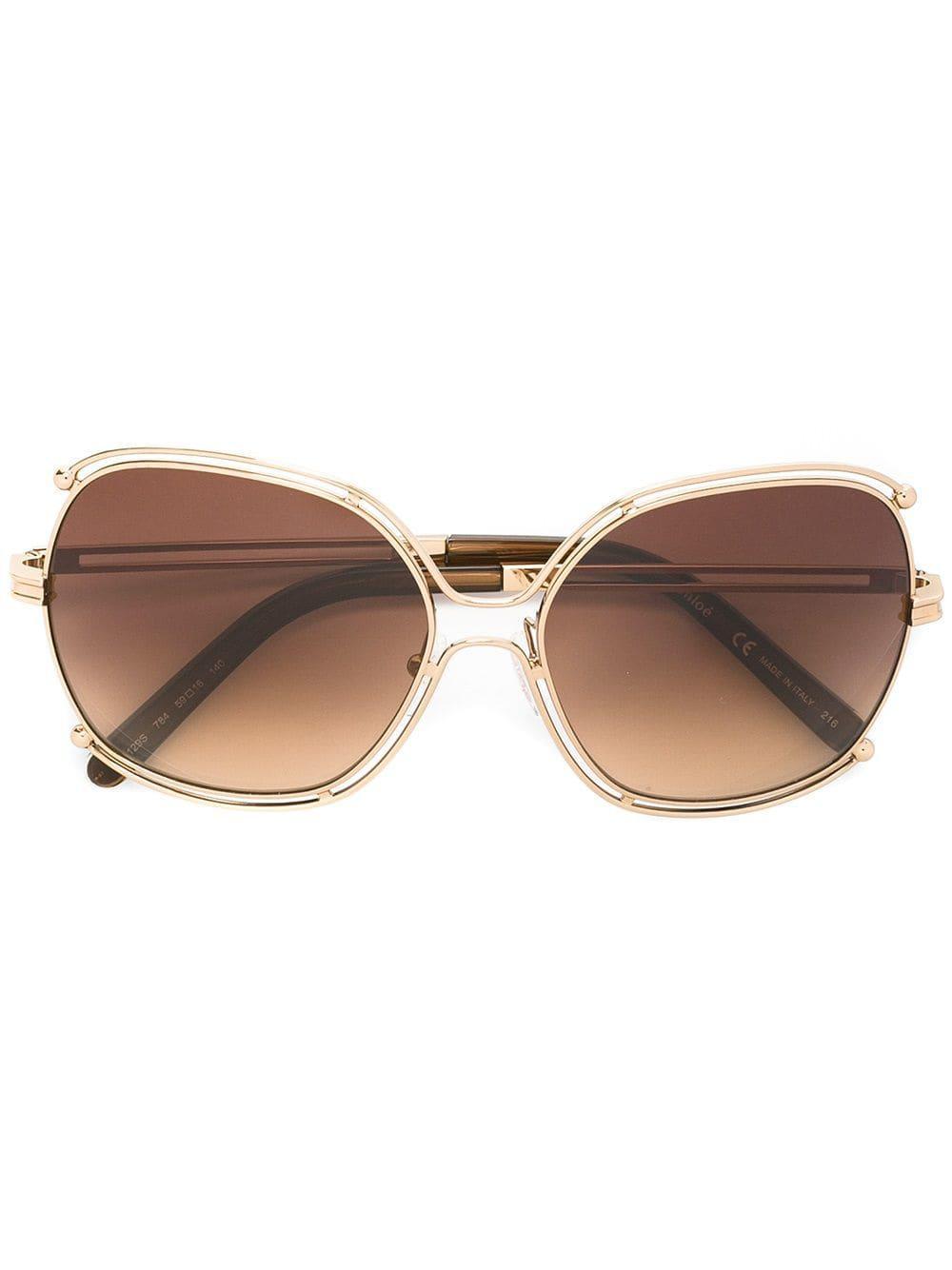 Chloé Geometric Metallic Frame Sunglasses