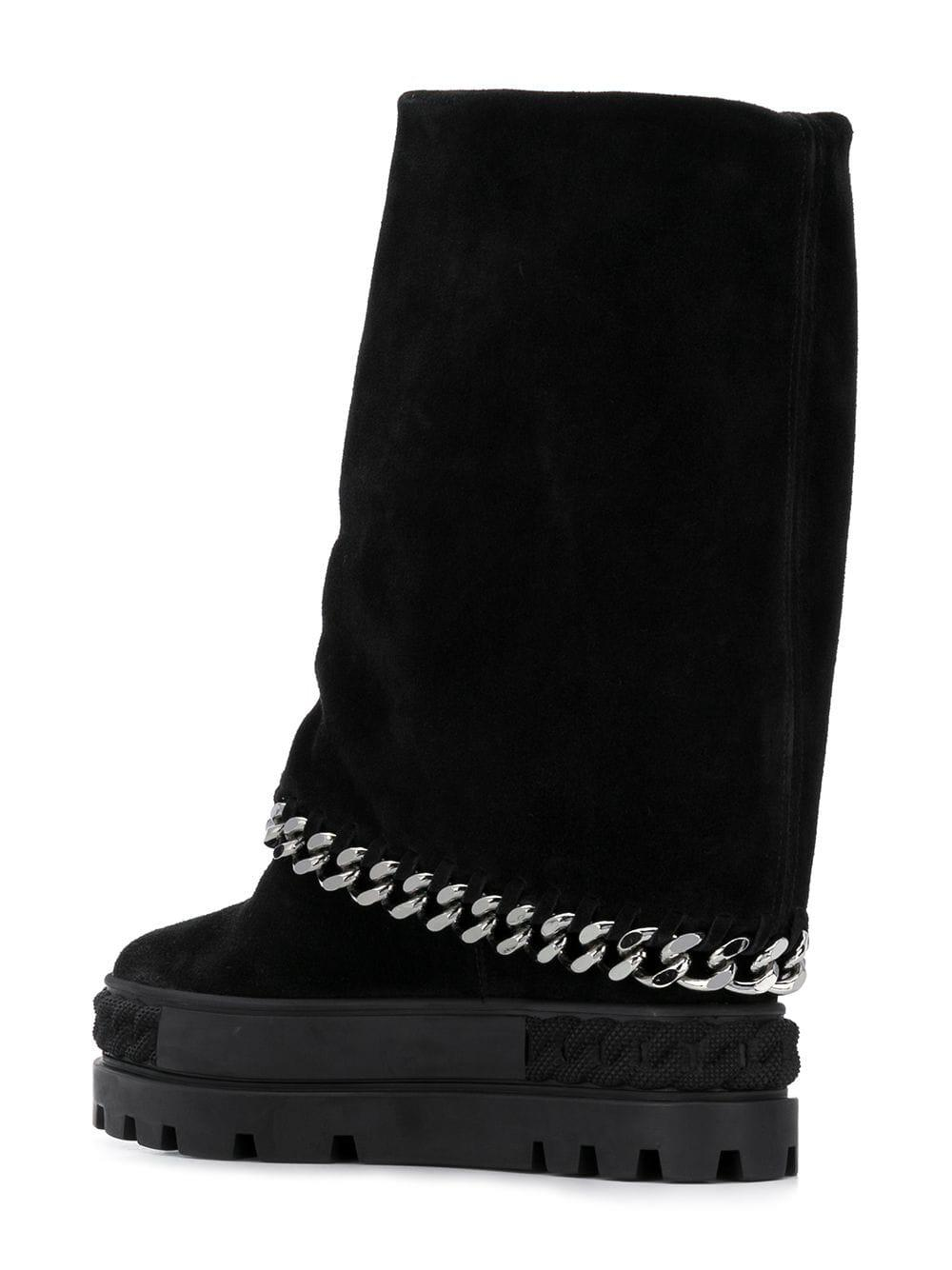 Casadei Leather Chain Trimmed Boots in Black