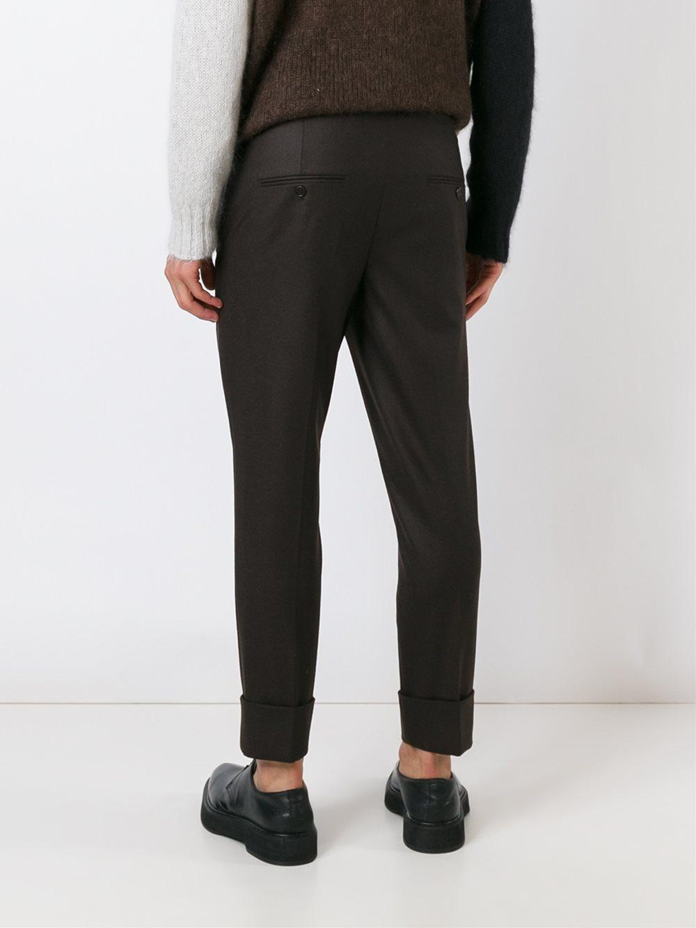 Neil Barrett Wool Cropped Trousers in Brown for Men