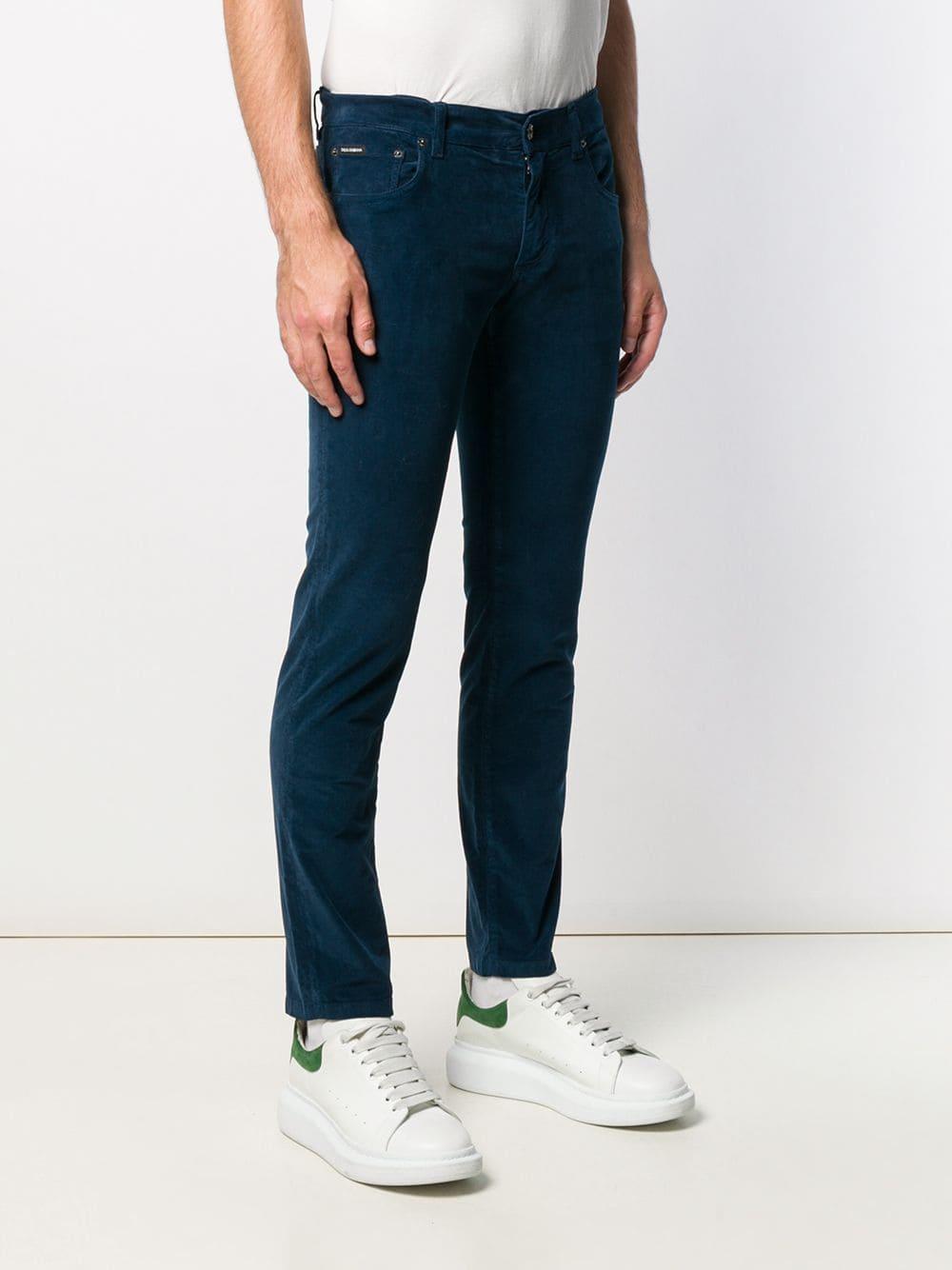 Dolce & Gabbana Katoen Straight Broek in het Blauw voor heren