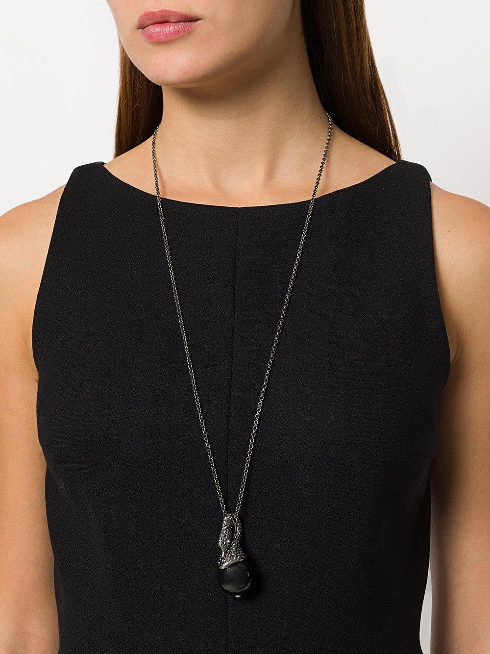 Lanvin Crystal-embellished Swan Pendant Necklace in Black