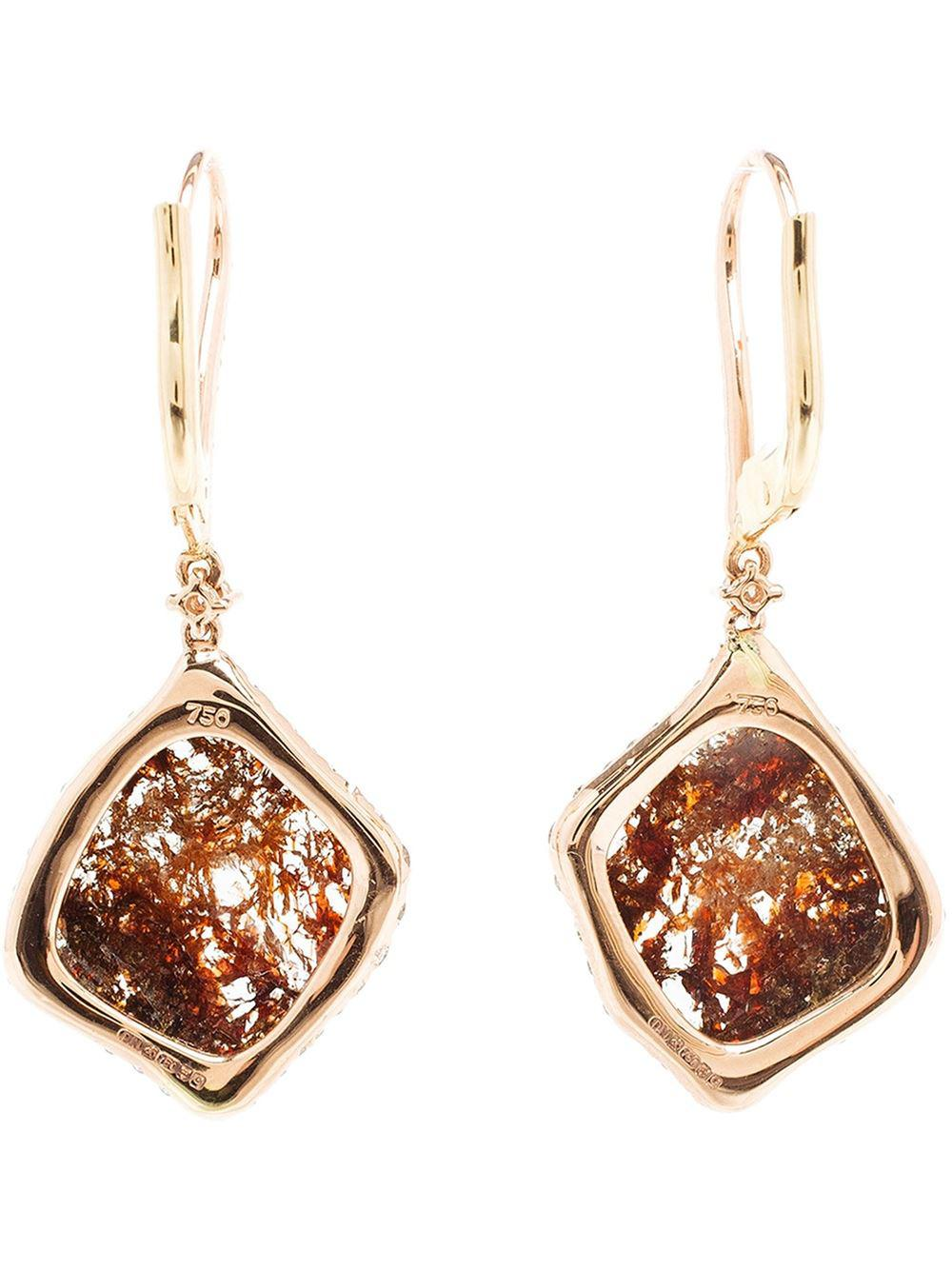 Saqqara sliced diamond earrings - Metallic 50dEo