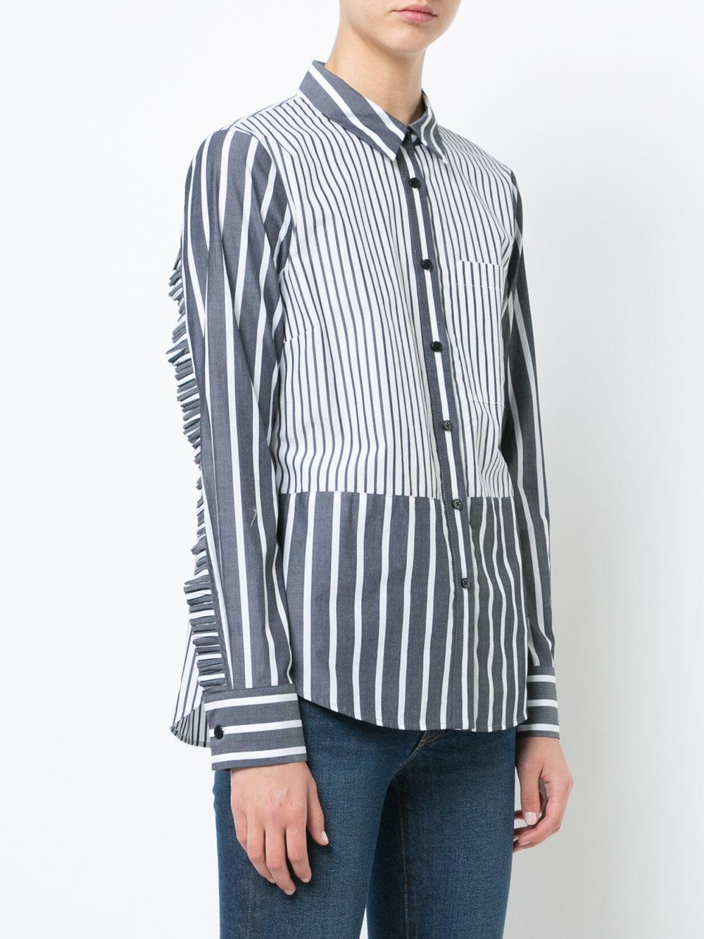 Long Sleeve Button-Down Shirt With Ruffle Detail - Grey Derek Lam Huge Surprise Fashion Style For Sale Outlet Locations Cheap Price Buy Cheap New Arrival wfg2b