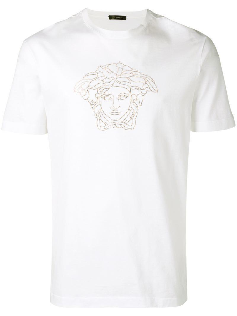 8956ad16 Lyst - Versace Studded Medusa T-shirt in White for Men