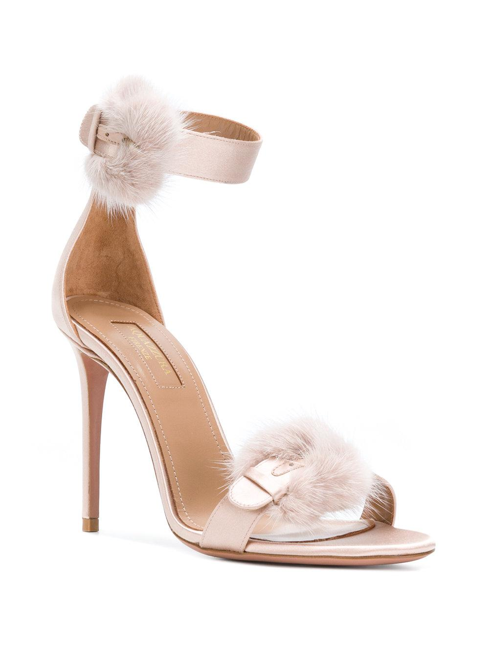 Aquazzura 105MM SINATRA FUR & SATIN SANDALS Wnvz5