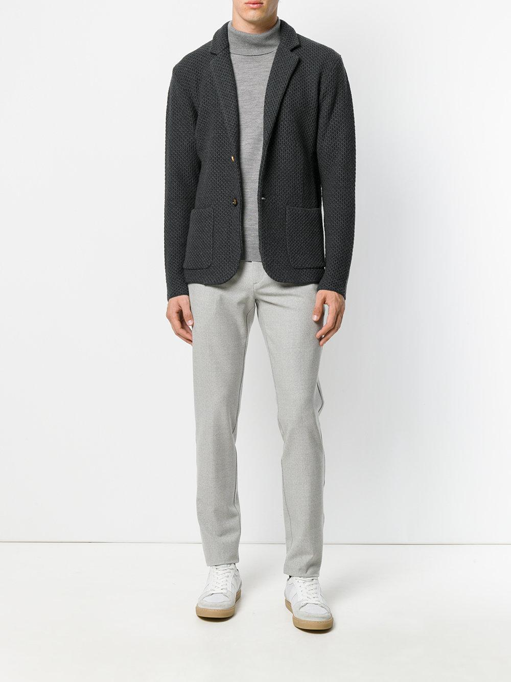 Eleventy Wool Fitted Tailored Trousers in Grey (Grey) for Men