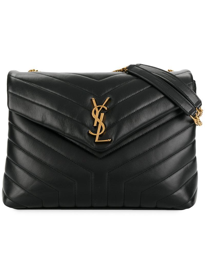 Lyst - Saint Laurent Loulou Shoulder Bag in Black 8688dbccfe30e