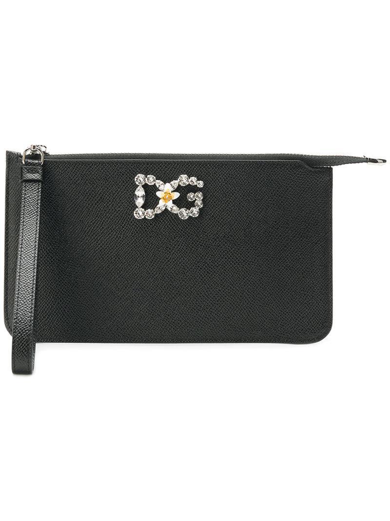 1c0624066c52 Lyst - Dolce   Gabbana Embellished Logo Mini Bag in Black