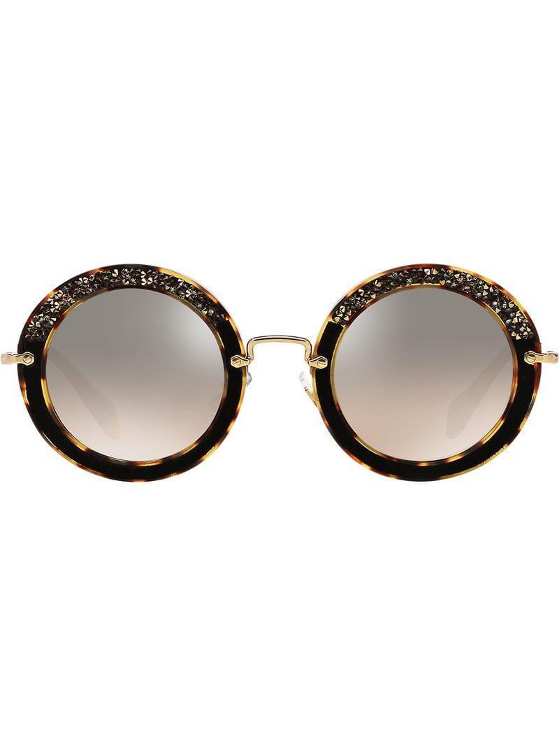a2cca6b4ff4 Miu Miu Embellished Circle Sunglasses in Brown - Save 33% - Lyst
