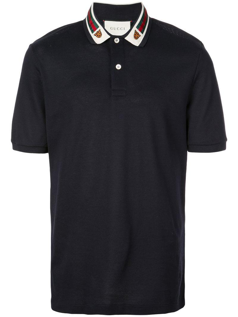 595ad0bdfa0 Gucci Cotton Polo With Web And Feline Head in Blue for Men - Save 57 ...