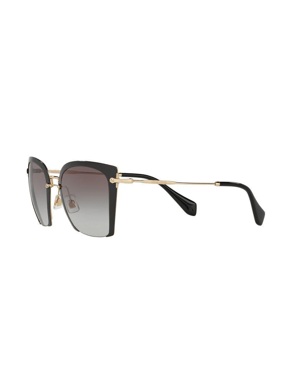 4342fcd0221f Miu Miu Rasoir Sunglasses in Black - Lyst