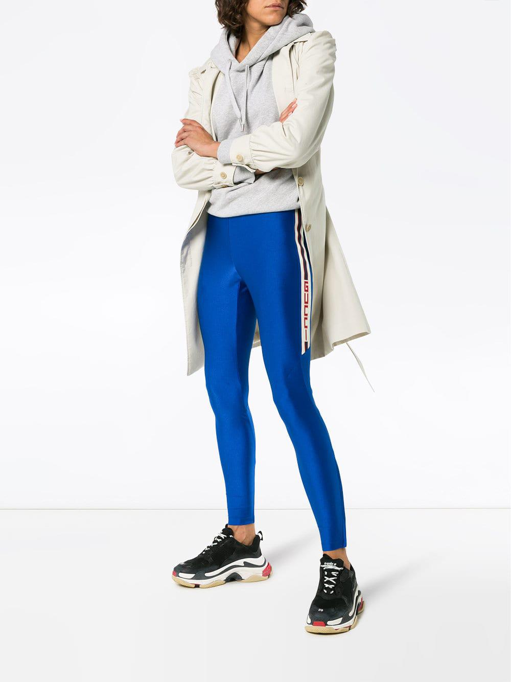 239827d59782 Lyst - Gucci Striped Metallic Tech-jersey Leggings in Blue - Save 29%