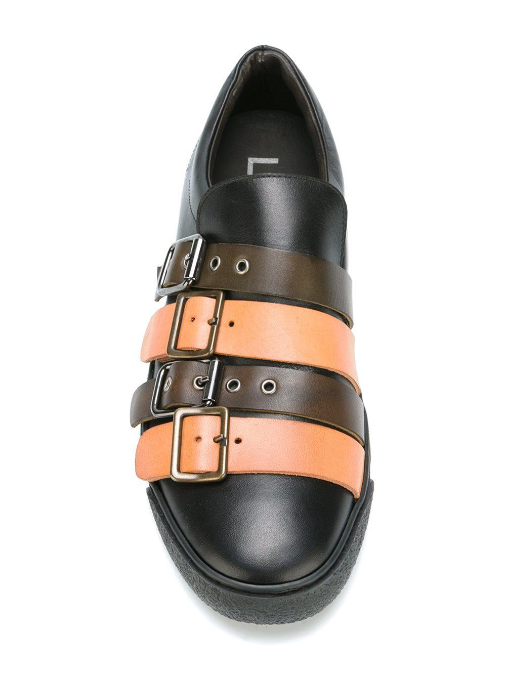 Lathbridge By Patrick Cox Leather Multi-strap Slip-on Sneakers in Black
