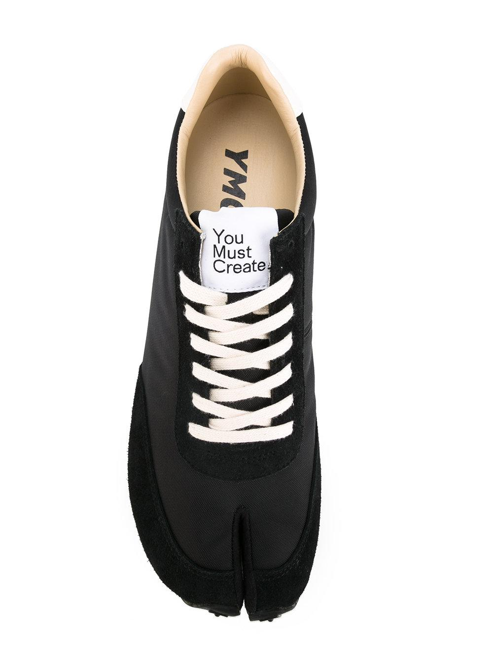 YMC Leather Tabi Trainers in Black for
