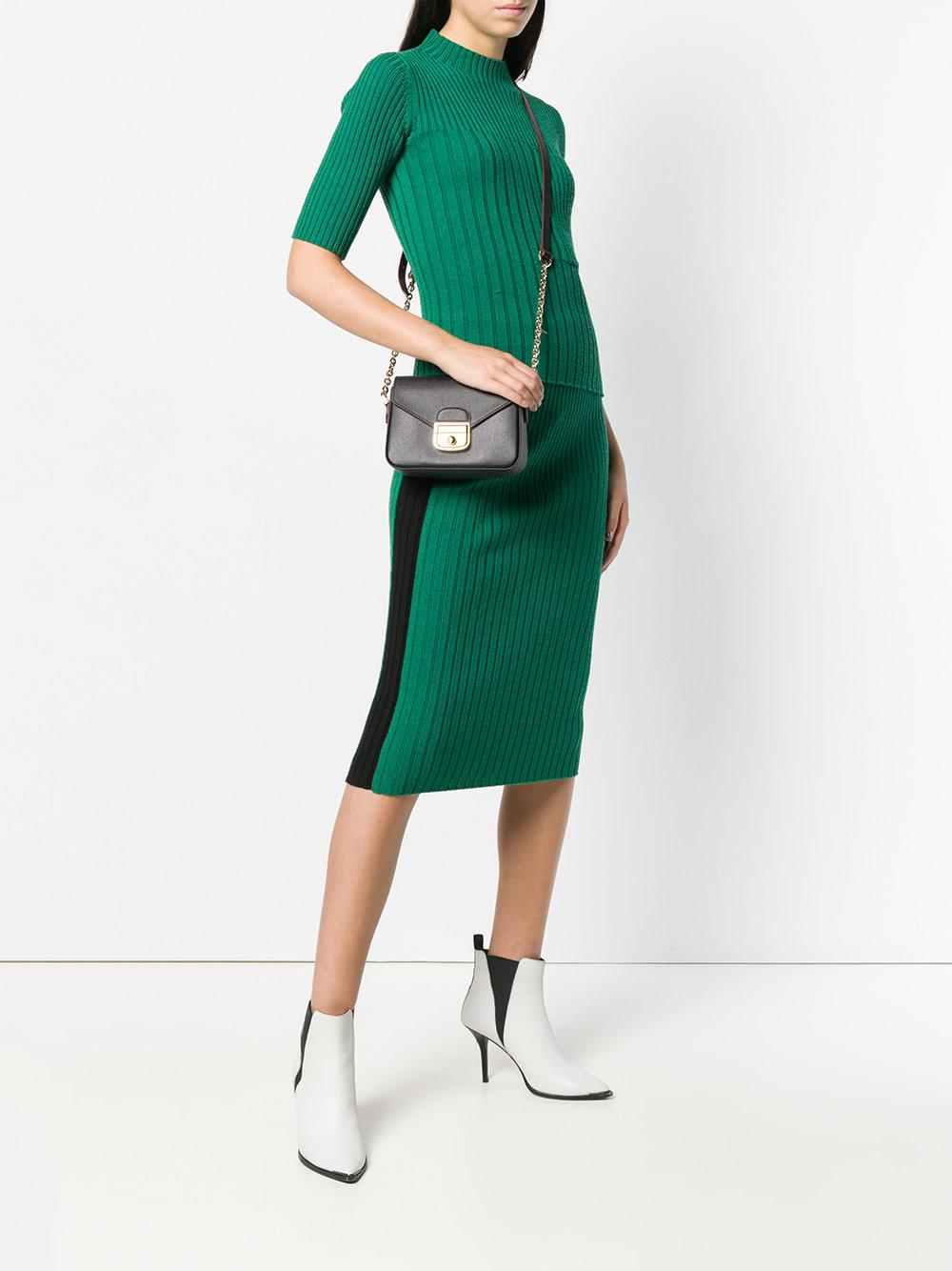 Longchamp Leather Metallic Chain Crossbody Bag in Black