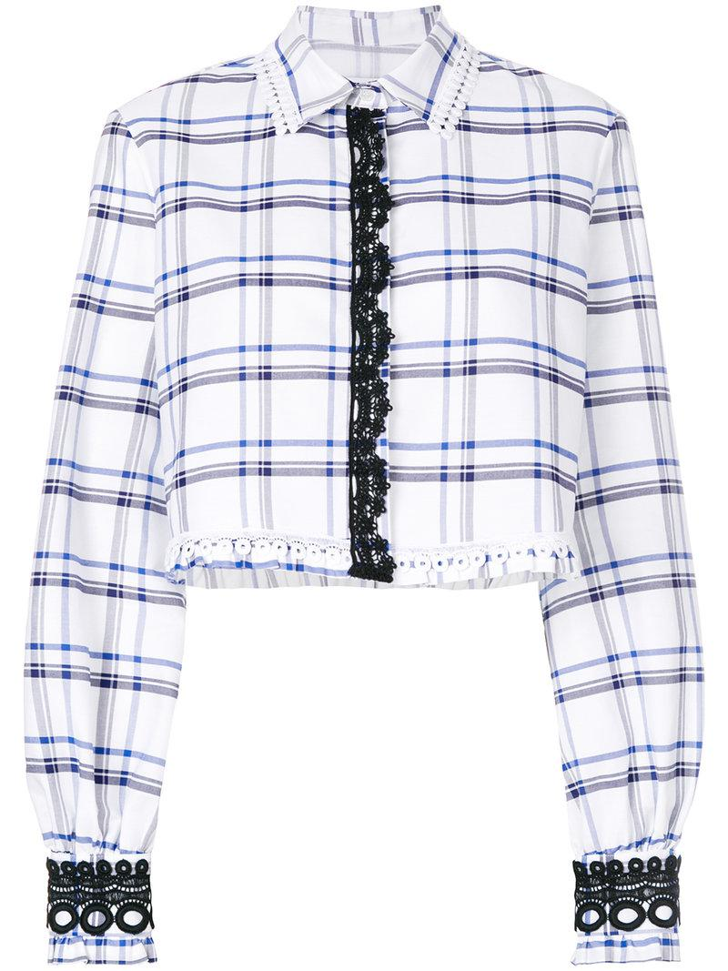 32d657e1711 Lyst - Msgm Check Cropped Shirt in White
