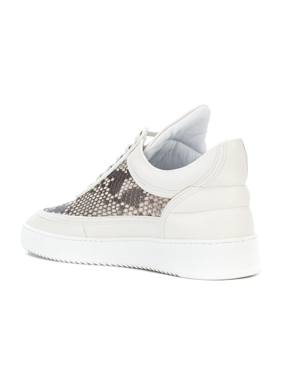 Filling Pieces Leather Python Print Sneakers in White