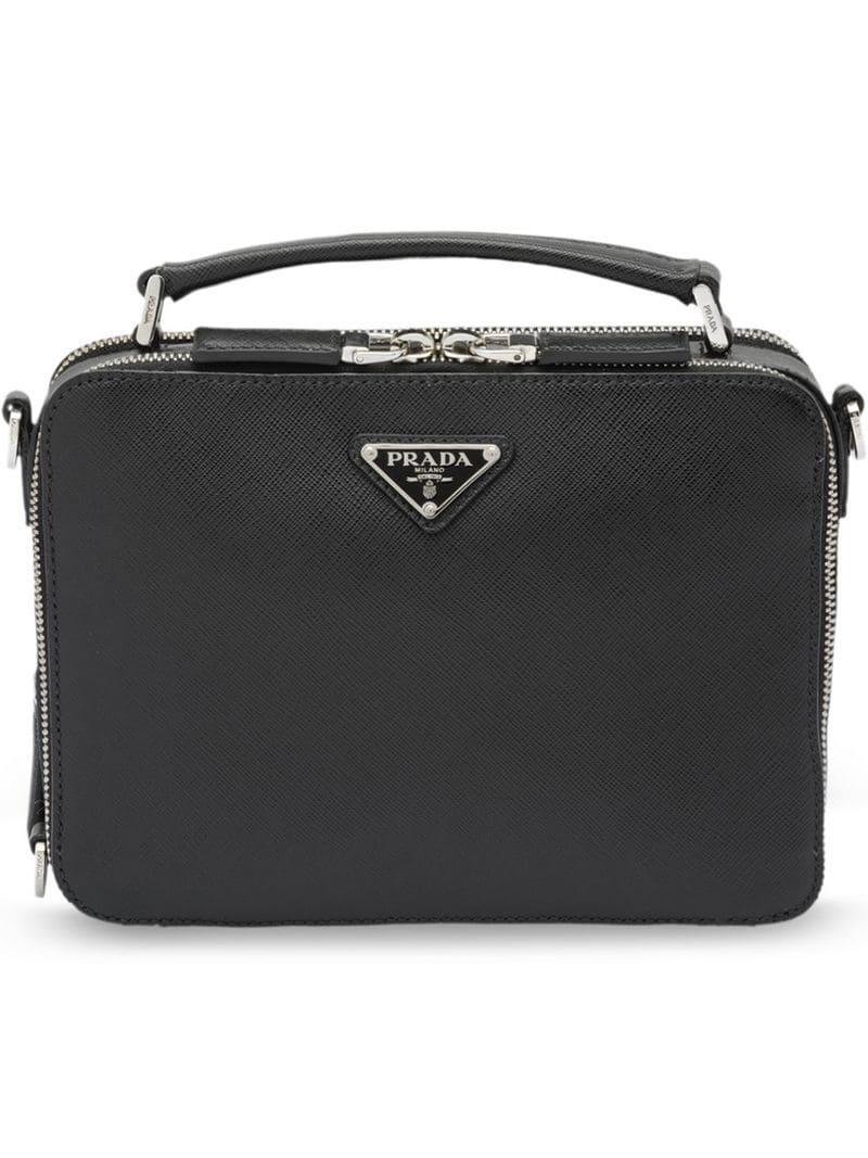 f1c778a8cd73 Prada - Black Saffiano Leather Shoulder Bag for Men - Lyst. View fullscreen