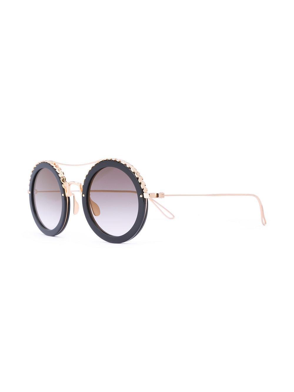 Elie Saab Round Sunglasses in Metallic