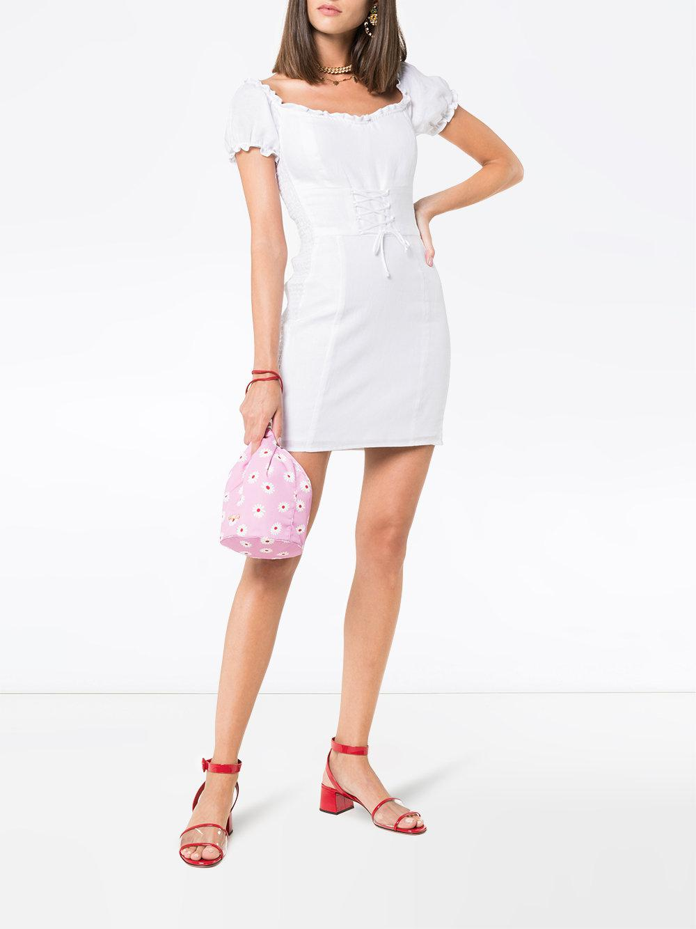 44f87748e03 Reformation  hudsun  Linen Mini Dress With Belt in White - Lyst
