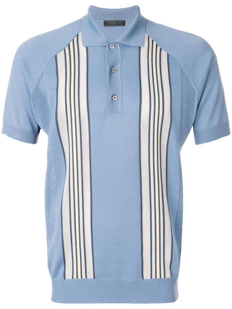 High Quality stripe detail polo shirt - Blue Prada Footaction kzkccvTcW
