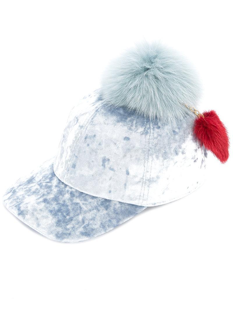 Lyst - Federica Moretti Fur Pom Pom Hat in Blue 7422cb92f460