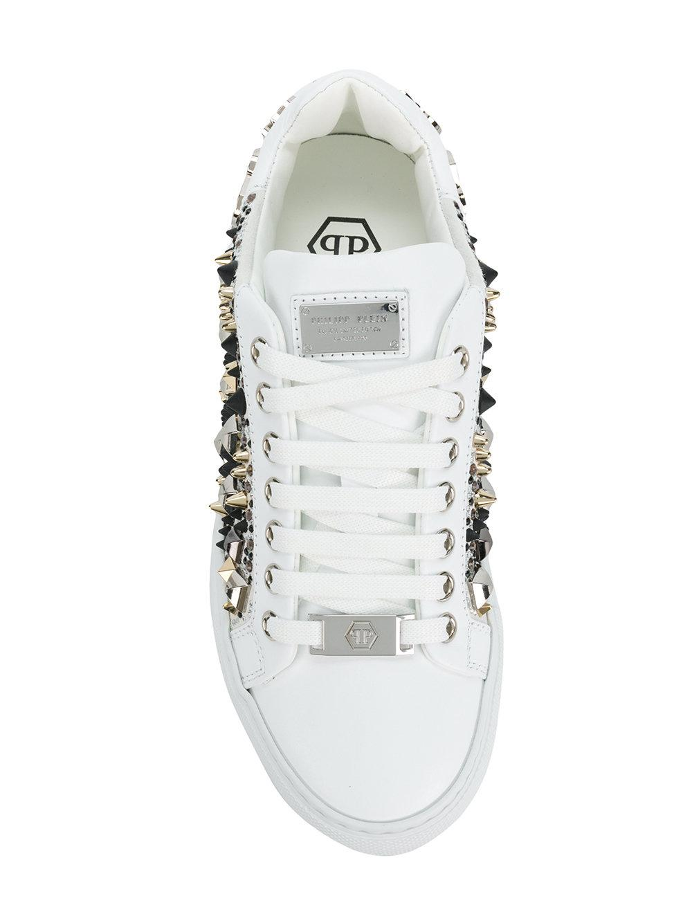 Philipp Plein Leather Stud Embellished Sneakers in White
