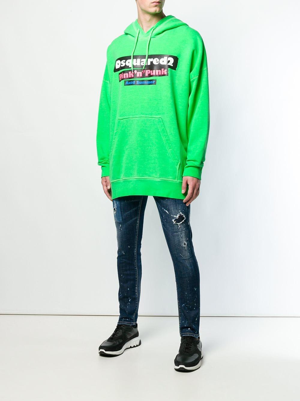 DSquared² Katoen Sweater Met Capuchon in het Groen voor heren