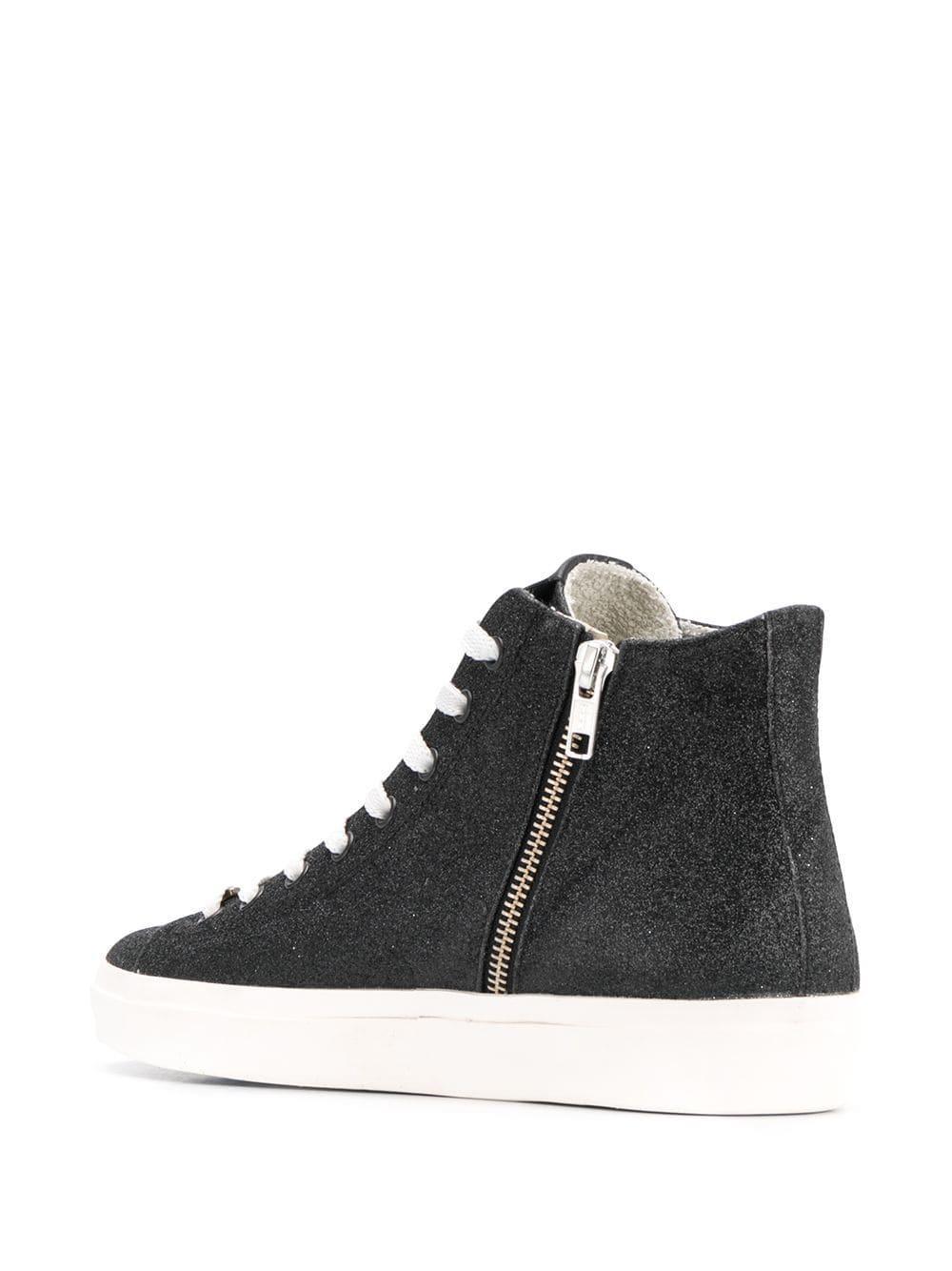 Zapatillas altas con logo Leather Crown de Caucho de color Negro
