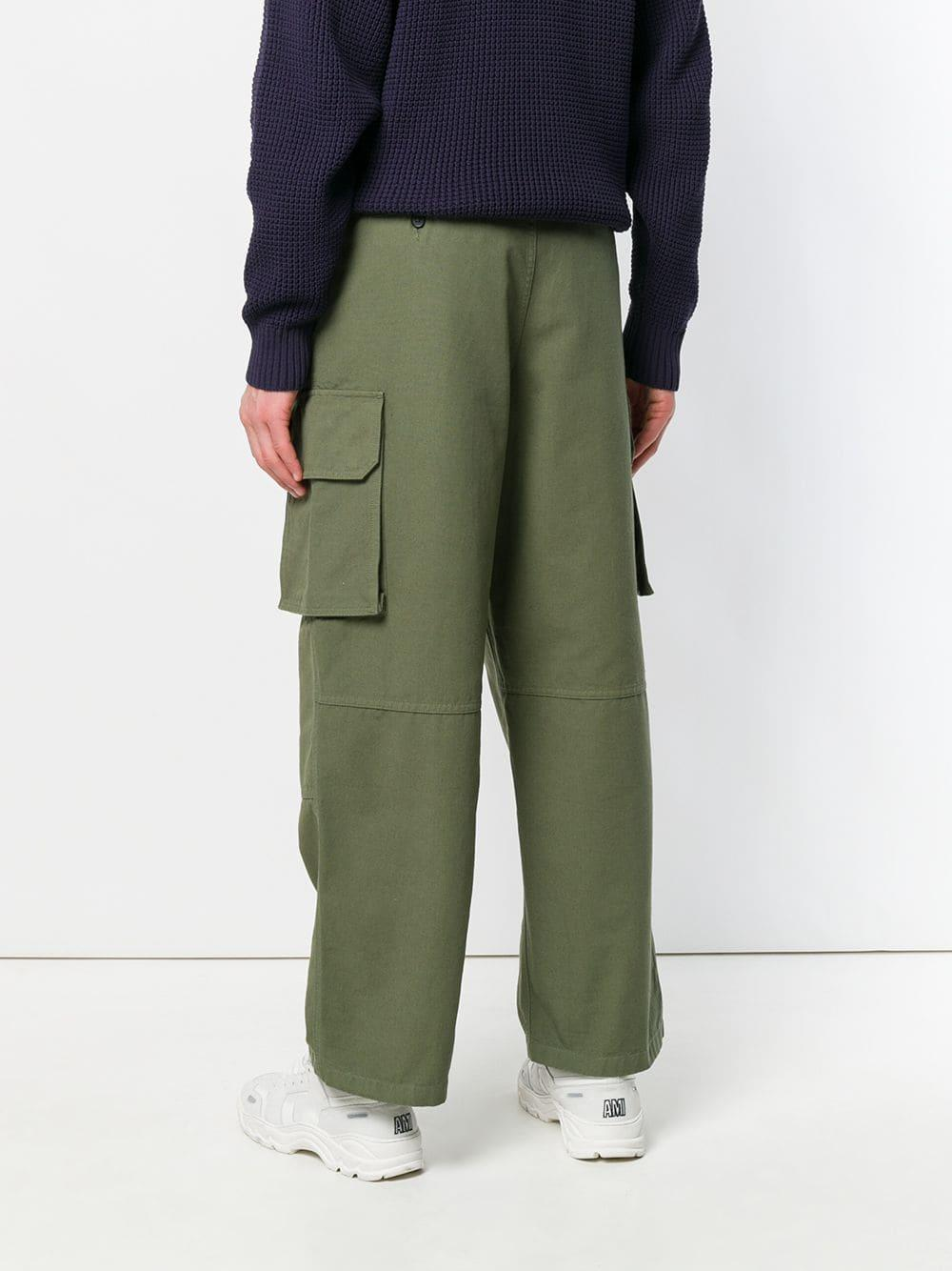 AMI Cotton Cargo Trousers in Green for Men