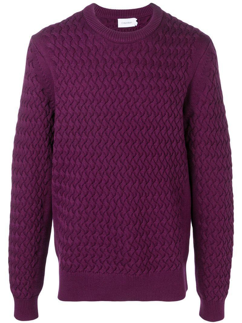 4df8d7a3f Lyst - Calvin Klein Pattern Knitted Sweatshirt in Purple for Men