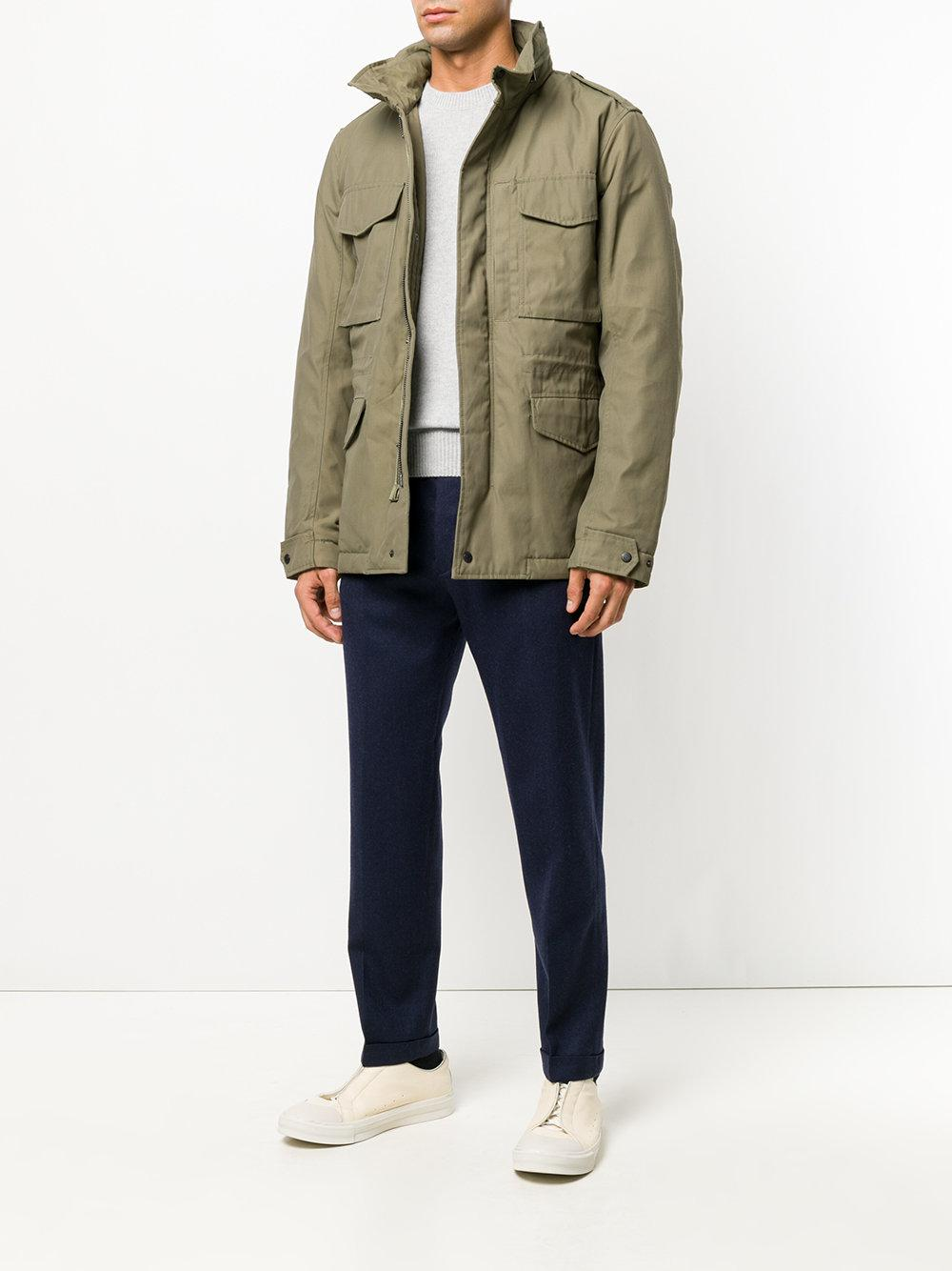Closed Cotton Cargo Jacket in Green for Men