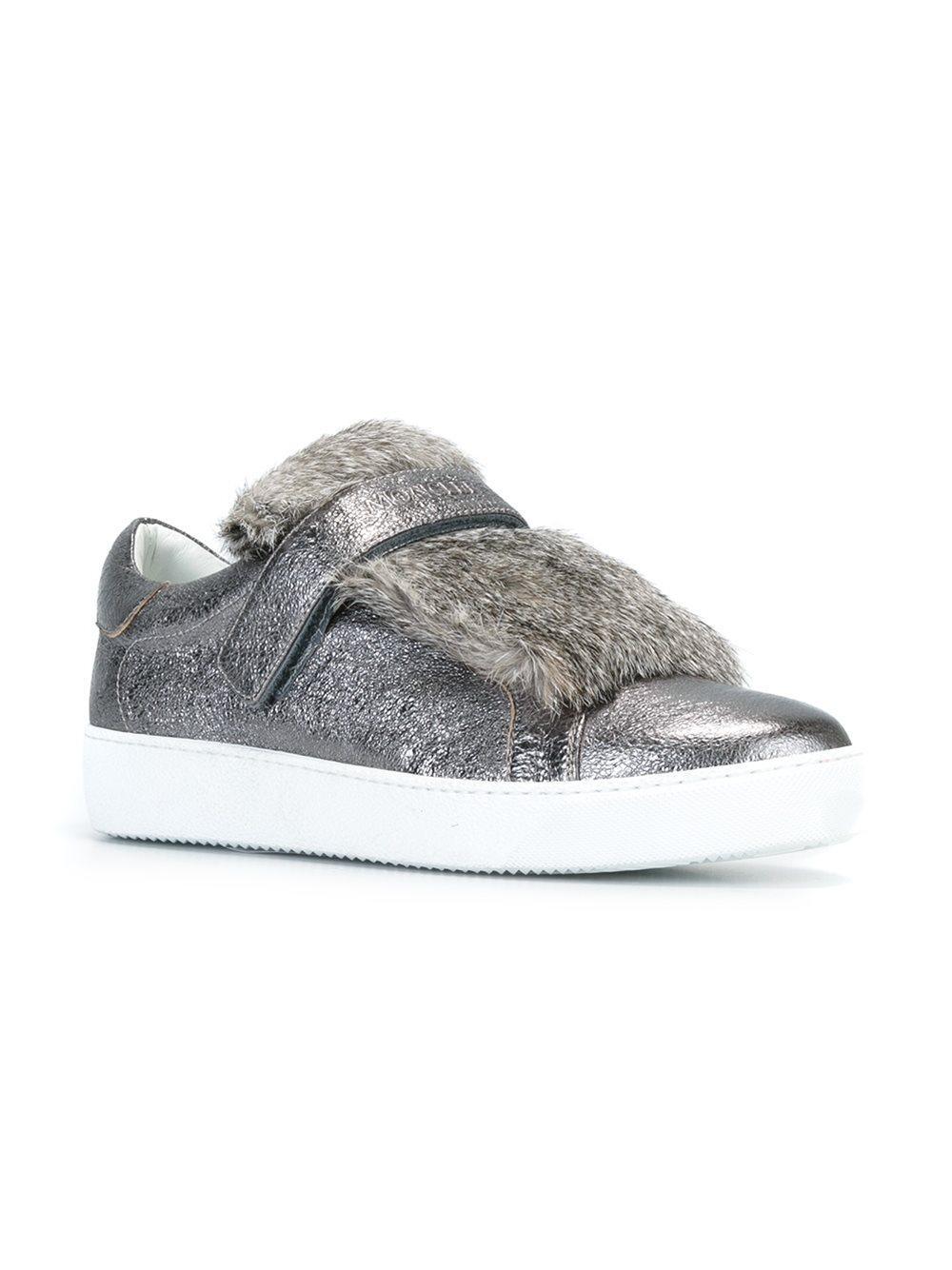 Moncler Leather Lucie Sneakers in Grey (Grey)