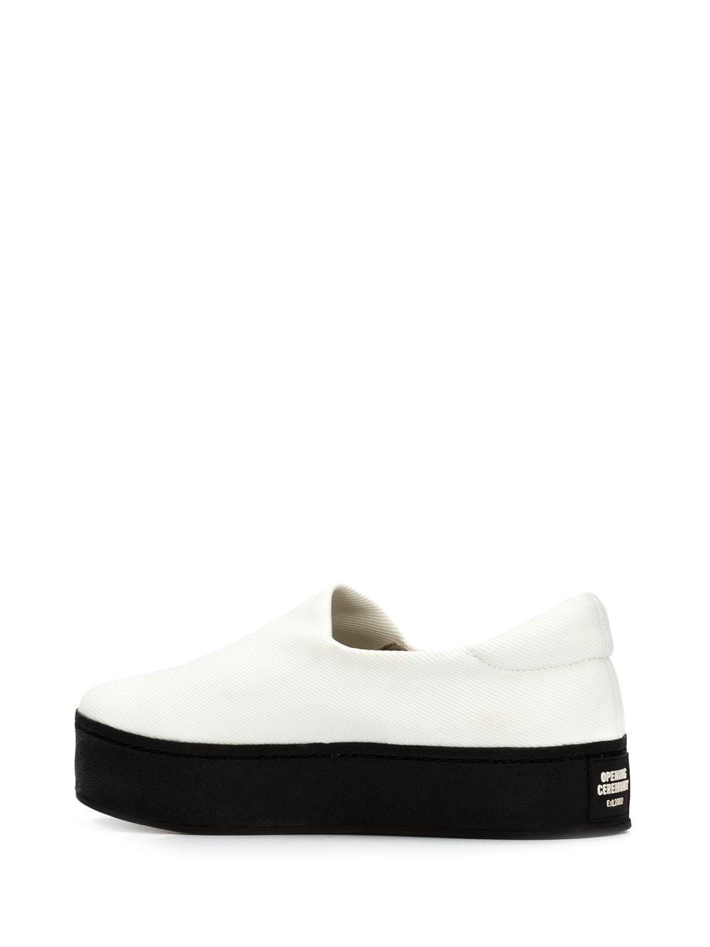 Opening Ceremony Cotton Flatform Slip-on Sneakers in White