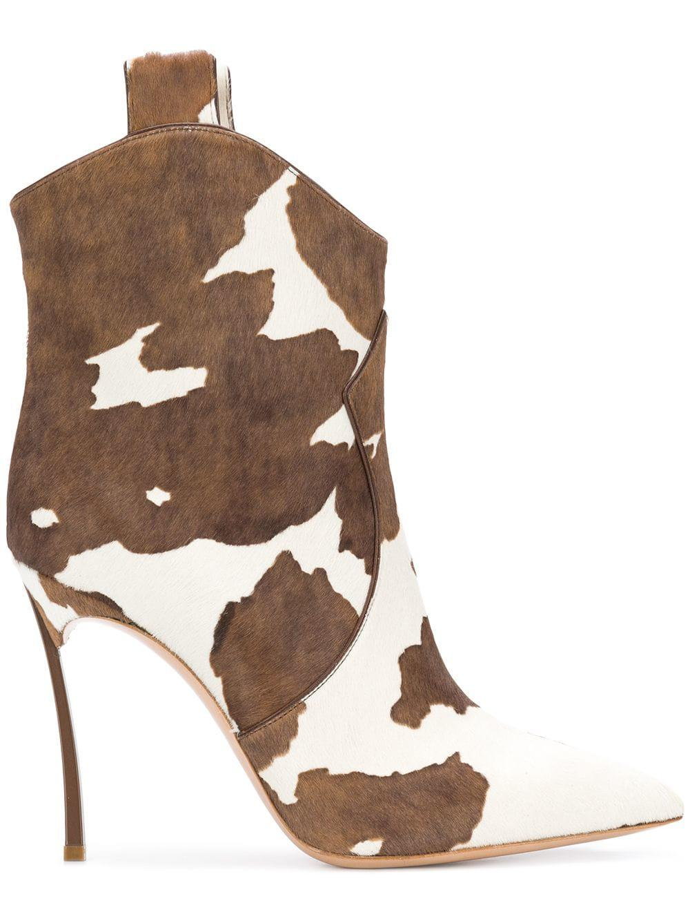 Casadei Leather Cow Pattern Cowboy Boots in White