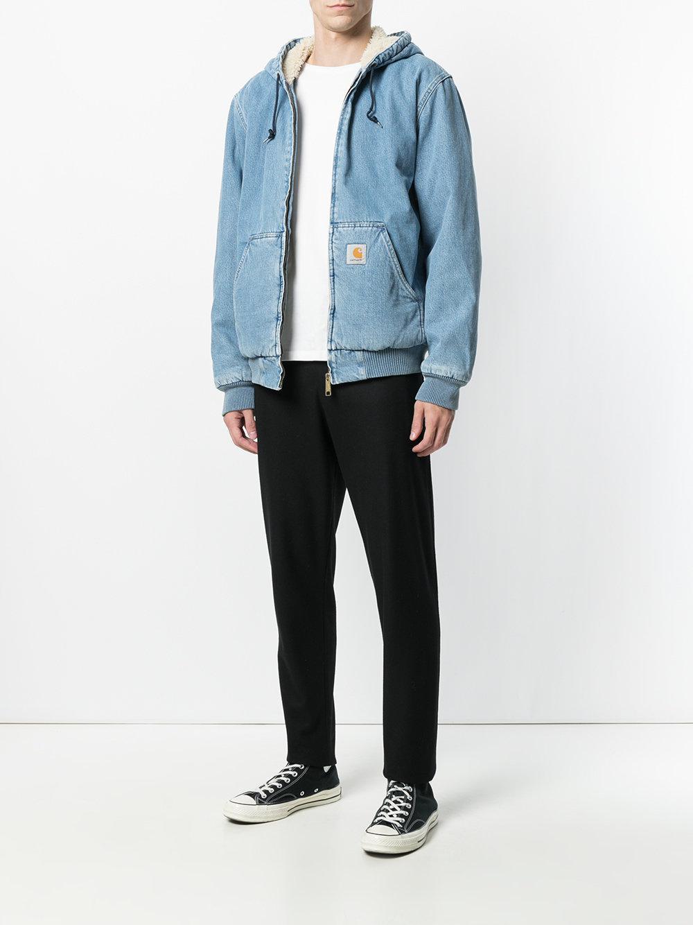 Carhartt Shearling Denim Jacket in Blue for Men