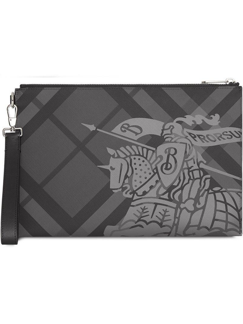 d99c3f85df61 Lyst - Burberry Equestrian Knight Logo Clutch Bag in Gray for Men ...