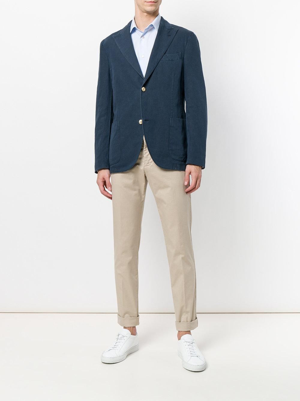 Entre Amis Cotton Tailored Fitted Trousers in Natural for Men