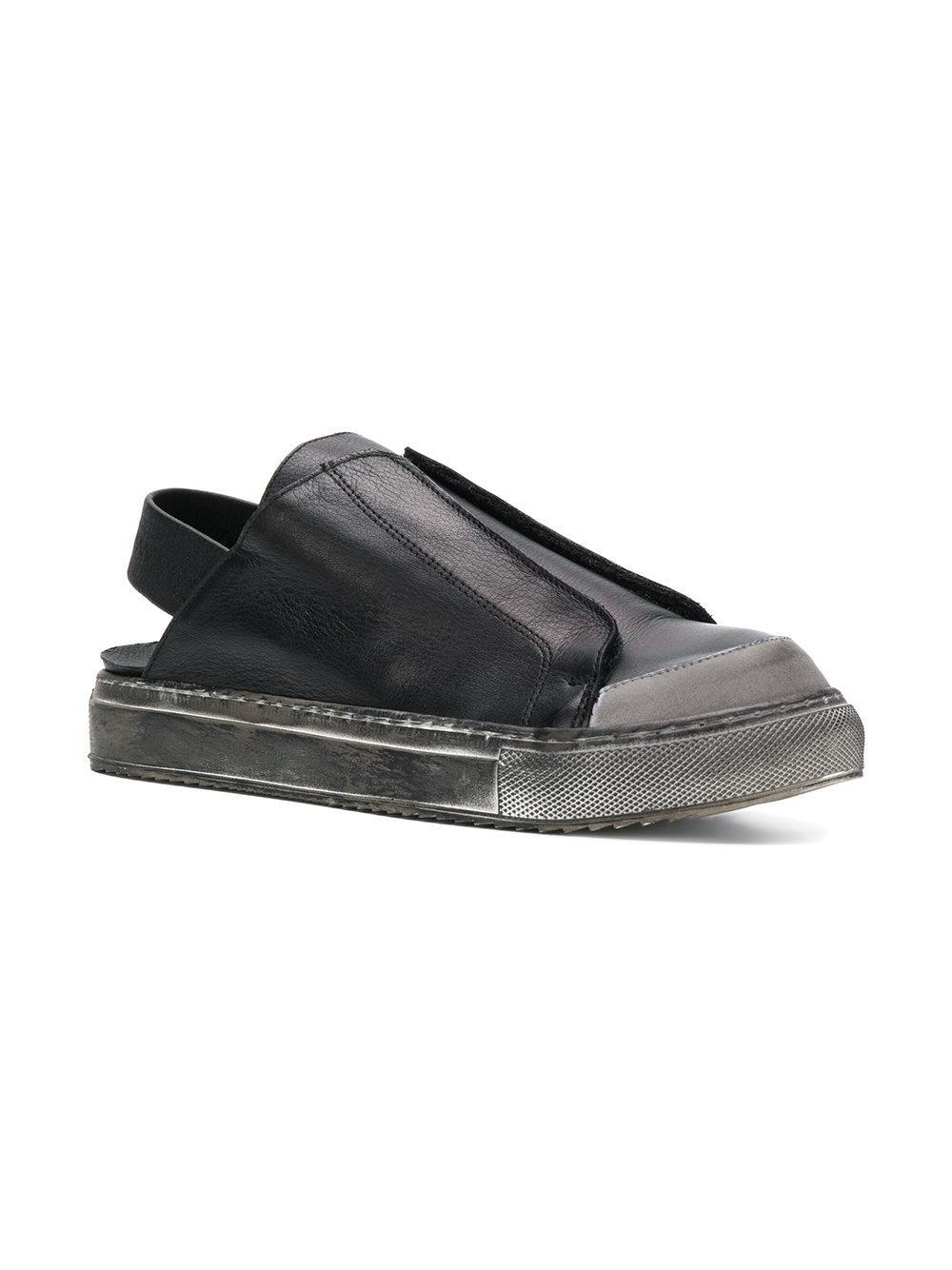 Rundholz Black Label Leather Sling Back Sneakers in Black