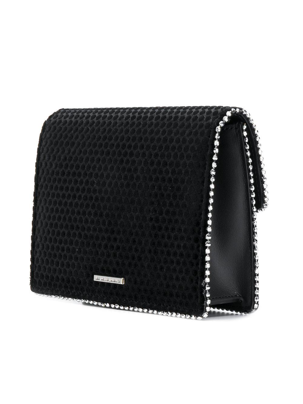 Les Petits Joueurs Leather Embellished Heart Crossbody Bag in Black